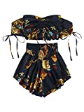 SheIn Women's Boho Floral Two Piece Outfit Off Shoulder Drawstring Crop Top and Shorts Set Medium Black
