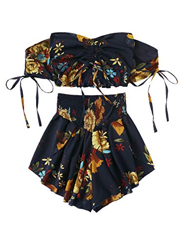 SheIn Women's Boho Floral Two Piece Outfit Off Shoulder Drawstring Crop Top and Shorts Set Large Black