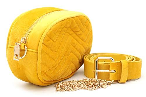 Dielay - Riñonera para mujer (terciopelo, 19 x 12 x 7 cm), color Amarillo, talla 19 x 12...