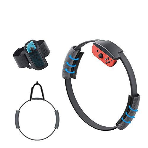 Yocktec Correa para la pierna y agarre Ring-Con para Ring Fit Adventure Nintendo Switch,correa de muñeca elástica ajustable Volante antideslizante Accesorios Kits para Switch Joy-Con Controller Game