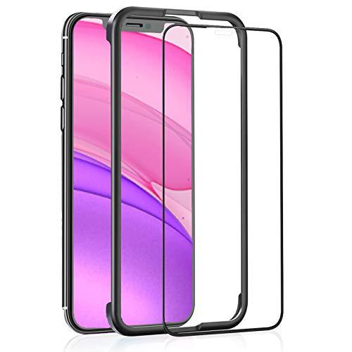 OAproda iPhone 11   iPhone XR 用 ガラスフィルム 全面保護 強化ガラスガイド枠付き ケースに干渉しないアイフォン 11   XR (6.1インチ) フィルム