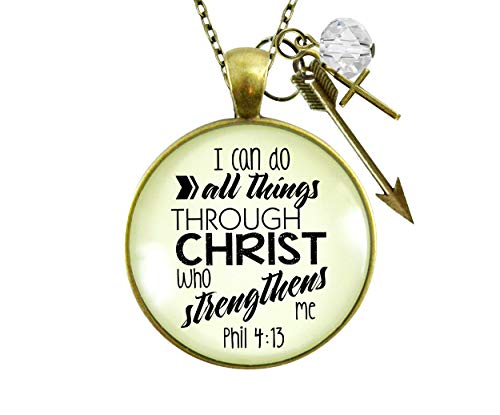 Gutsy Goodness 24' I Can Do All Things Faith Necklace Brave Life Quote Cross Charm