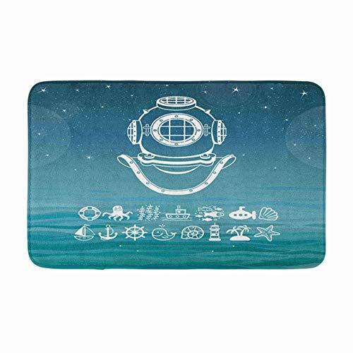 LiminiAOS Badematte Menschliche Erfindungen Alter Taucherhelm Tiefe Wissenschaft Meer Ozean Wellen Die Nacht AR Gemütliches Badezimmer Dekor Badteppich mit Rutschfester Unterlage