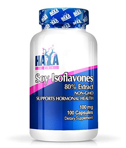 SOYA Isoflavones 80% Extract x 100 Capsules Non-GMO Supports Hormonal Health, Potent One-a-Day Formula Supplement
