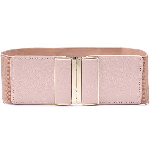 Beltox Womens 3' Wide Belt Elastic Stretch Cinch Waistband Lady Cummerband (30-51', Pink Belt)