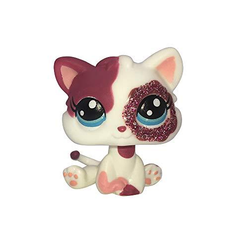 LPSCB Custom-Made Baby for Short Hair Cat #2291 Pink White Kitten Sparkle Glitter Eyes 1 Inch Kitty Mini Pet Toys