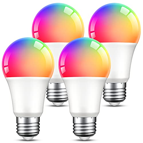Smart Light Bulbs, Dimmable Color Changing Smart WiFi Bulbs Work with Alexa and Google Home, RGB Multicolor and Warm White A19 E26 75W Equivalent LED Bulbs, 2.4Ghz WiFi Only, No Hub Required, 4 Pack