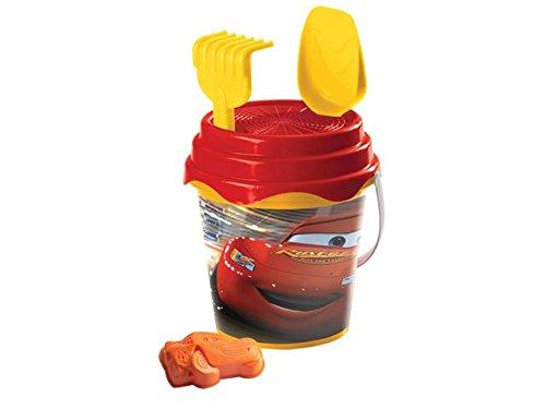 Mondo- Pixar Seau Garni Cars – Rouge – 49603 – 17 cm – Jeu de Plage pour Enfant dès 10 Mois, 17 cm