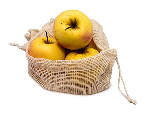 NERTHUS FIH 674 674-Set Rejilla, Bolsas de Comida Reutilizables para Productos Frescos, Frutas y Verduras, 3 tamaños, 100% Orgánico, algodón Reciclado, 3 Medidas
