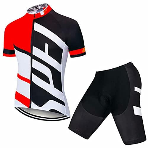 HXTSWGS Ropa Ciclismo Verano para Hombre Ciclismo Maillot,Kit de Ciclismo para Hombre, Transpirable Camiseta de Bicicleta de montaña Tops con 3 Bolsillos Traseros y Culotte Corto con Tirantes