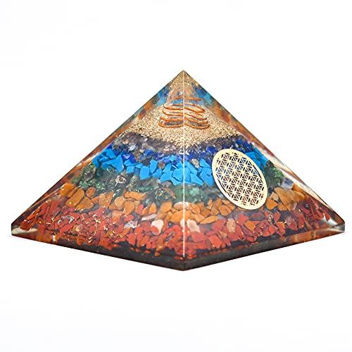 Real Crystal Orgonite Pyramids 7 Seven Chakra Orgone...