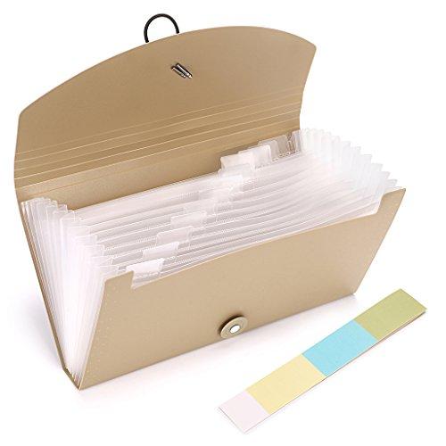 BTSKY Expanding File Folder –New 13 Pockets Small Accordion File Folder Expandable Card Ticket Holder File Storage Folder Check Bill File Folder Plastic Business Document Organizer Wallet Case(Khaki) Photo #4