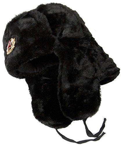 SIBERHAT Russian Soviet Army Fur Military Cossack Ushanka Hat (Black, 58/M)
