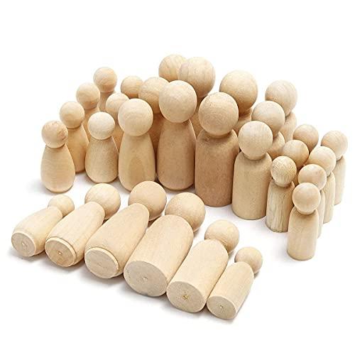 Anladia 30Pcs Holzkegel Figuren Holzfiguren zum Bemalen Unvollendete Spielfiguren DIY Figuren Männchen Mädchen Familie Figurenkegel