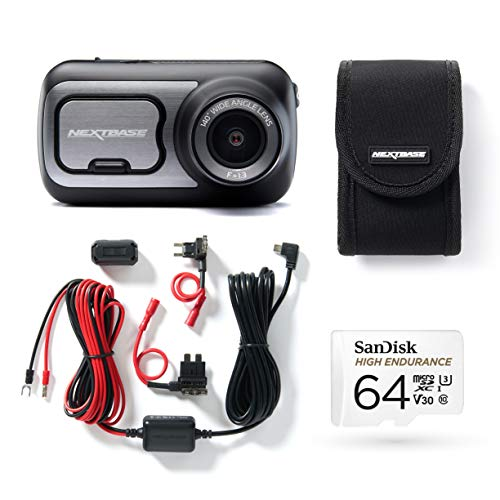 Nextbase 422GW Full 1080p HD In Car Dash Cam Camera- Bluetooth- WIFI- GPS- Night Vision, SOS Emergency- Bundle Kit with Click and Go Mount, Hardwire Kit, 64GB SD Card and Case Included