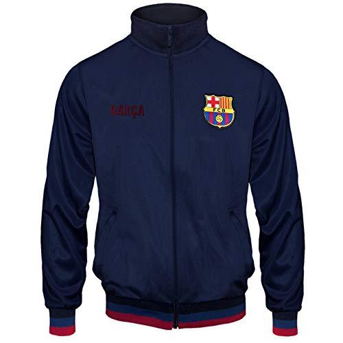 FC Barcelona - Chaqueta de entrenamiento oficial - Para hombre - Estilo retro - Azul marino - Small