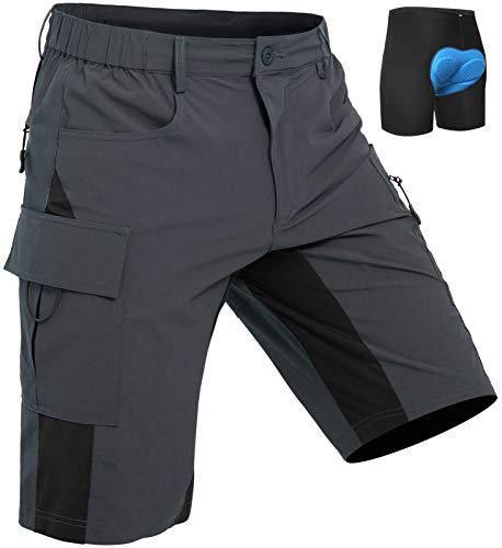 Wespornow Pantaloncini MTB Uomo, Pantaloncini da Ciclismo Biciclette, Traspirante Shorts per Ciclismo da Corsa All'aperto (Grigio, S)
