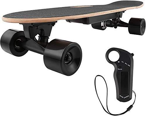 Mini E-Karten-Skateboard Mini-Elektro-Roller und Retro Skateboard mit Fernbedienung, um das System mit Motor zu starten,Black