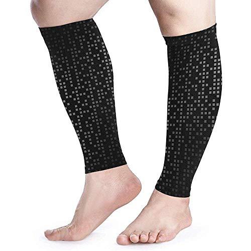 Grijze zwarte afbeelding behang kalf compressie mouw mannen Womens hardlopen been mouw voor scheenbeen Splint spier pijn verlichting