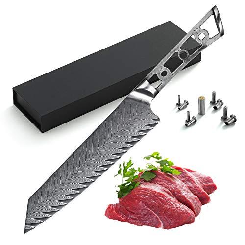 KATSURA Woodworking Project Kit – Kiritsuke Chef Knife Blank – 8 Inch with 50mm wide blade – Thunder-X Series – Japanese Premium 67 Layers Damascus AUS 10 Steel – NO LOGO