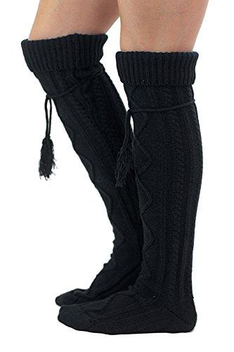 Tie Boot Socks Women's Tall Alpine Boutique Socks Brand by Modern Boho Black