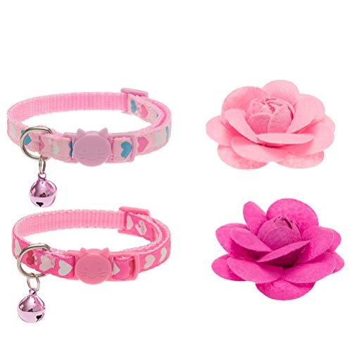 PUPTECK 2pcs Collar de Gato con Accesorios de Flor Extraíbles y Campanilla Ajustable Desglose