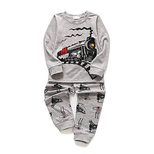 Chickwin Jungen Langarm Zweiteiliger Schlafanzug, Baumwolle Kinder Flugzeug Schiff Zug Grau Drucken Nachtwäsche Herbst Winter Unisex Pyjamas Sets (140cm,Zug)