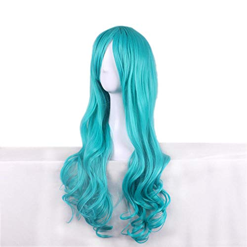 Anime perruque bleu vert perruque frange oblique perruque fashion perruque longue perruque de cheveux bouclés grande perruque de vague
