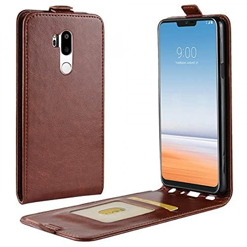 Cover-Discount LG G7 - Funda de Piel con Tapa y Compartimento para Fotos Vertical, Color marrón