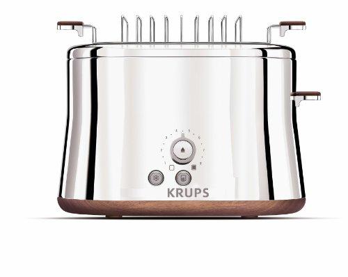KRUPS KH754 Silver Art Collection Toaster mit 2 Schlitzen, mit Duttwärmer und Edelstahlgehäuse, silberfarben
