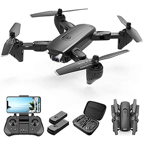 Drone con Telecamera HD 1080P per Adulti e Bambini, Drone con Telecamera FPV WiFi, Quadricottero con Telecomando, Hover Automatico, Controllo vocale/gestuale, Flip 3D, modalità Senza Testa, Controllo
