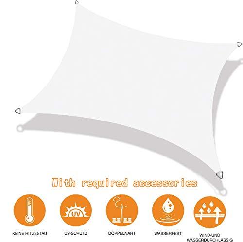 NOLOGO Toldo Vela Rectangular 4x5m Telas Lona Cubierta Protección Anti-UV 95% Velas para Sombra Resistente y Transpirable,Impermeable, para Exteriores Patio, el jardín, protección UV, Blanco
