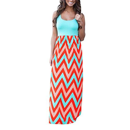 Cantissa Damen gestreiftes langes Boho Kleid Lady Beach Sommer Sommerkleid Maxikleid