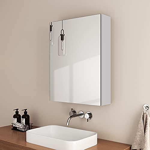 EMKE Badezimmer Spiegelschrank, 50x65cm eintüriger Spiegelschrank mit doppelseitigem Spiegel, Verstellbarer Trennwand spiegelschrank,mattweiß