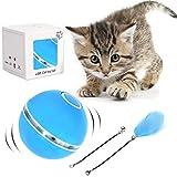 Bola de Gato, Juguetes para Gatos Pelotas, Carga USB Bola Giratoria Automtica, Bola Elctrica de 360 Juguete Interactivo con luz LED Color para Ejercicio Animal Domstico Gatos y Perros (Azul)