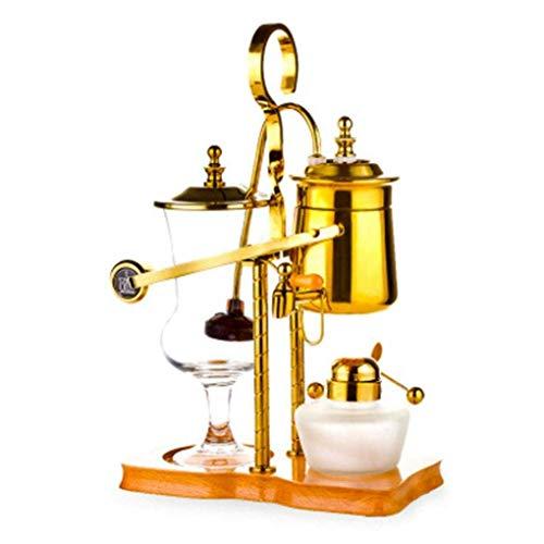 Kaffeemaschine SKTY Syphon Kaffeemaschine, Kaffee Siphon Gleichgewicht Syphon Vakuum hitzebeständiges Glas Tee-Zubereitungsmöglichkeiten, The Royal Belgian Kaffeekanne, Kaffeekanne, Silber + Schleifer