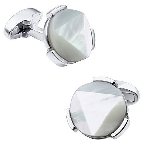XKSWZD Gemelos de Piedra de Ojo de Tigre para Camisa de Hombre Opciones de botón de Gemelos de Cara de Corte Irregular para Hombre Plata Madre Perla