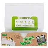 ECOOPTS - Bolsas de almacenamiento reutilizables para congelador, 100% compostables, con cierre zipper, ASTM D6400, biodegradables para organización y almacenamiento de alimentos, 28 x 25 cm