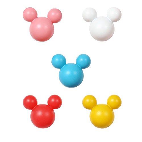 アルファタカバ ディズニー ミッキー取っ手シリーズ ツマミつまみ 5個セット ピンクホワイトレッドホワイトブルー