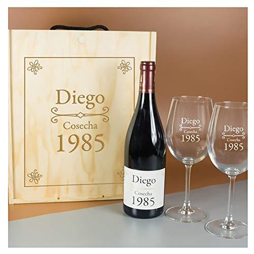 Calledelregalo Regalo Personalizado para cumpleaños: Kit Que Contiene Botella de Vino Personalizada y Copas de Vino grabadas, en Caja de Madera también Personalizada