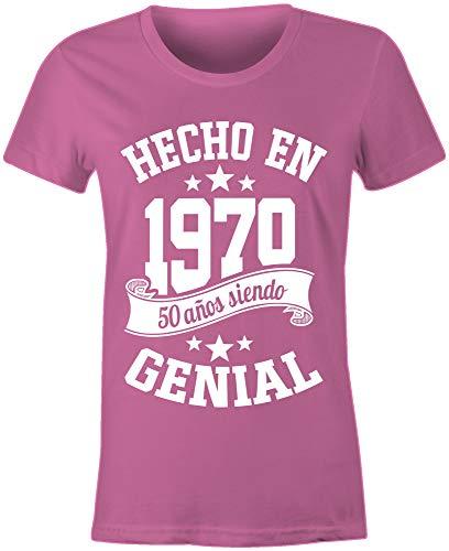 6TN Mujer Lengua española Hecha en 1970 50 años de ser Camiseta Impresionante (XXL, Rosado)