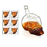 Ahmi, set di bicchieri da whisky, vino o vodka a forma di teschio, con design a doppia parete, include 1 bottiglia da 1000 ml + 6 bicchieri a forma di teschio da 75 ml, ideale per feste in casa