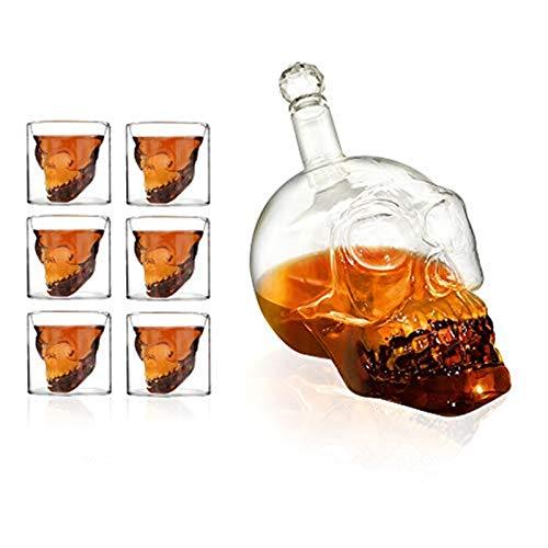 7pcs 1 Bouteille 1L + 6 Verres 75 ML, Ensemble Verres Shooter et Bouteille crâne Cristal Tete de Mort pour Alcool Vodka Whisky, Fête, Bar, Dîner