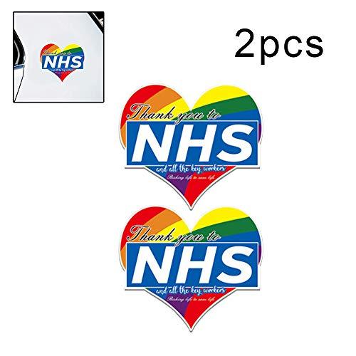 Joeesun Etiqueta Engomada del Coche Trabajadores Clave del NHS - Gracias Decoración De PVC Colores del Arco Iris En Forma De Corazón Ventana Pared Tienda 11 * 9.6cm/ Color