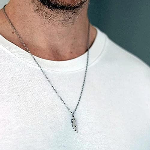 DALIU Genial Collar de Colgantes de Acero Inoxidable para Hombre, Cadena de Cuello Indie para Hombres, Collares Largos, joyería estética para Hombres
