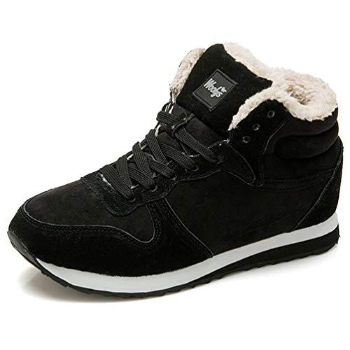 Qianliuk Winter Stiefel MännerMode Pelz Flocken Schuhe Leder Knöchel warm lässige Sneakers