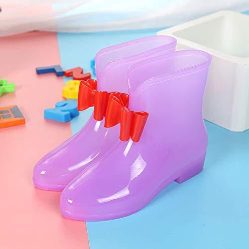 Giow Botas Bajas para Bebés, Zapatos Antideslizantes para Niños Arcos De PVC Resistentes Al Desgaste Hombres Y Mujeres,Purple,31