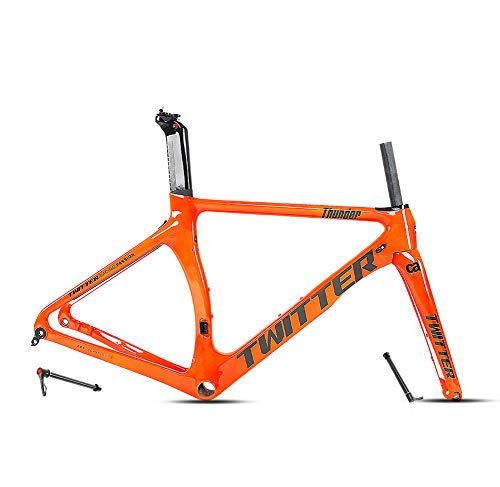 SXMXO Disco-Freno Cuadro De Bicicleta De Carretera 700C Eje Pasante 142Mm Carbono Horquilla Grava Bicicletas Frameset,Naranja,48CM
