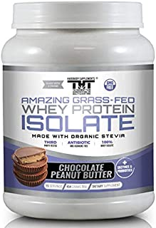 Amazing Grass Fed Whey Protein Powder made with Probiotic's, Digestive Enzymes & Organic Stevia. High Quality Protein Shake for High Quality Customers who value the best ingredients (15 Serving, Chocoalate Peanut Butter)