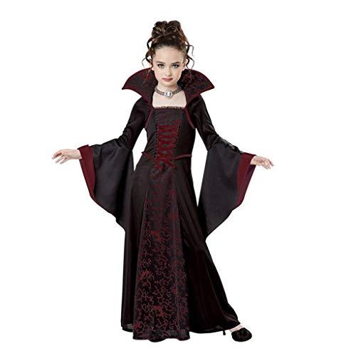 DONGBALA Halloween Kleider Für Kinder, Scary Medieval Retro Vampir-Kostüm Für Halloween Cosplay Verkleiden Partei Für Kinder Mädchen,Rot,140cm